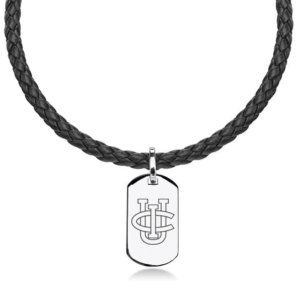 University of California, Irvine Leather Necklace with Sterling Dog Tag