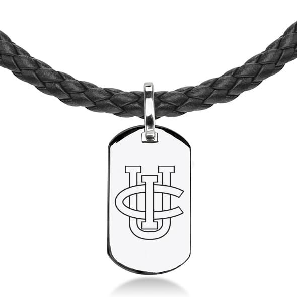 University of California, Irvine Leather Necklace with Sterling Dog Tag - Image 2