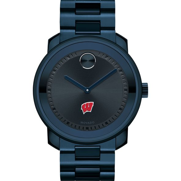 University of Wisconsin Men's Movado BOLD Blue Ion with Bracelet - Image 2