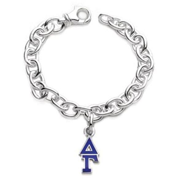 Delta Gamma Sterling Silver Charm Bracelet w/ Letter Charm - Image 1