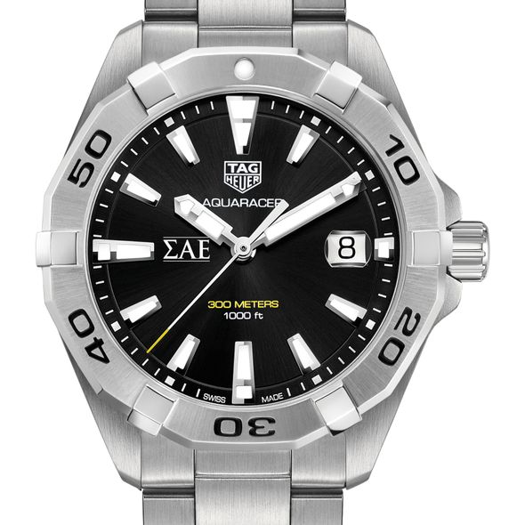 Sigma Alpha Epsilon Men's TAG Heuer Steel Aquaracer with Black Dial - Image 1