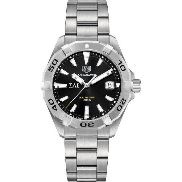 Sigma Alpha Epsilon Men's TAG Heuer Steel Aquaracer with Black Dial - Image 2