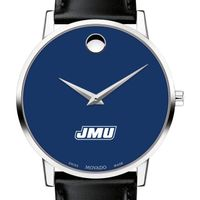 James Madison University Men's Movado Museum with Blue Dial & Leather Strap