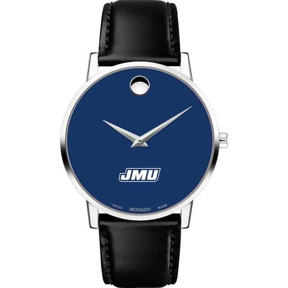 James Madison University Men's Movado Museum with Blue Dial & Leather Strap - Image 2