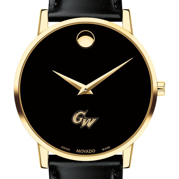 George Washington University Men's Movado Gold Museum Classic Leather