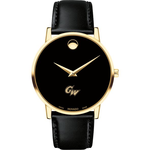 George Washington University Men's Movado Gold Museum Classic Leather - Image 2