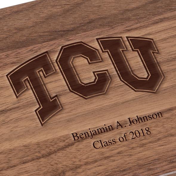 Texas Christian University Solid Walnut Desk Box - Image 3