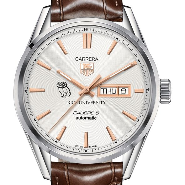 Rice University Men's TAG Heuer Day/Date Carrera with Silver Dial & Strap - Image 1