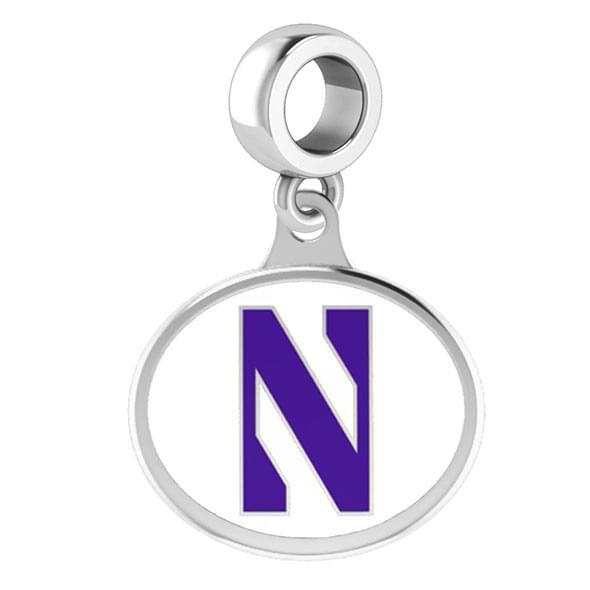 Northwestern Round Enameled Drop Charm