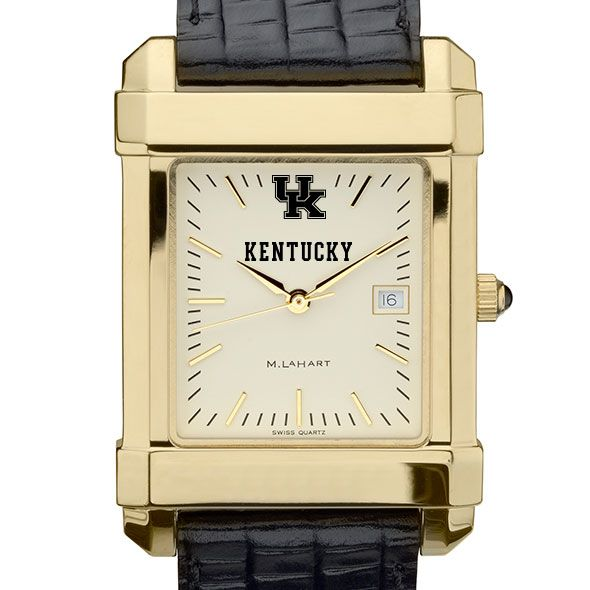 Kentucky Men's Gold Quad with Leather Strap
