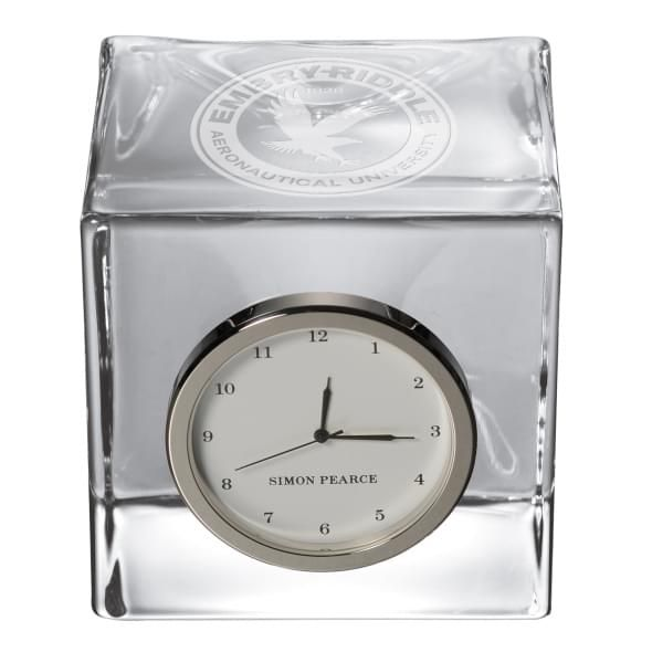 Embry-Riddle Glass Desk Clock by Simon Pearce - Image 2