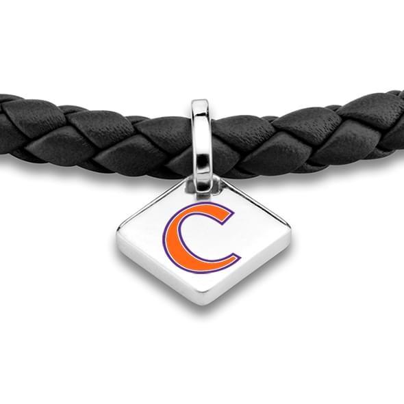 Clemson Leather Bracelet with Sterling Silver Tag - Black - Image 2
