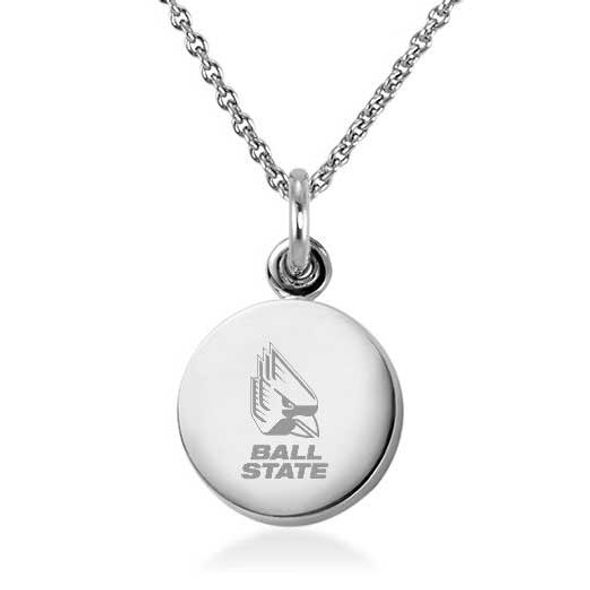 Ball State Necklace with Charm in Sterling Silver - Image 1