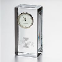 Iowa State University Tall Glass Desk Clock by Simon Pearce