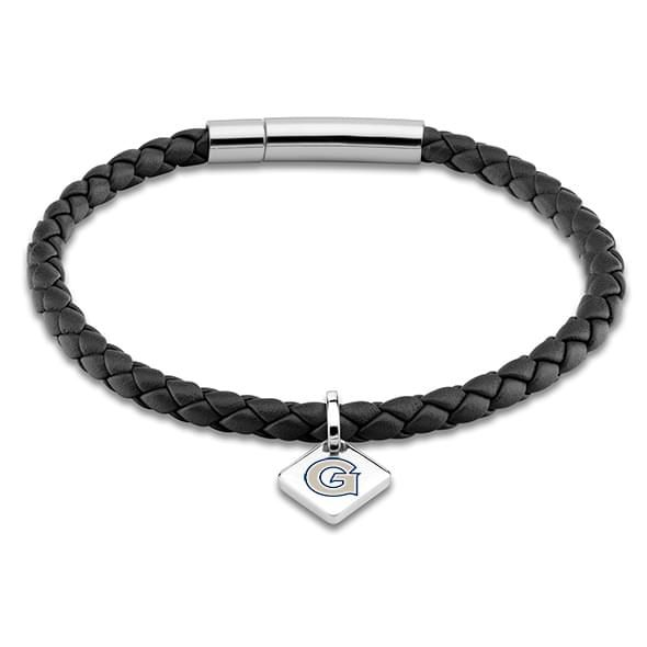 Georgetown Leather Bracelet with Sterling Silver Tag - Black