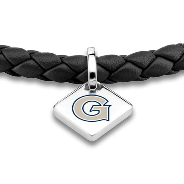 Georgetown Leather Bracelet with Sterling Silver Tag - Black - Image 2