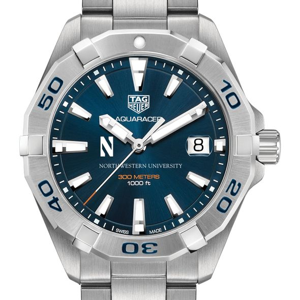 Northwestern University Men's TAG Heuer Steel Aquaracer with Blue Dial