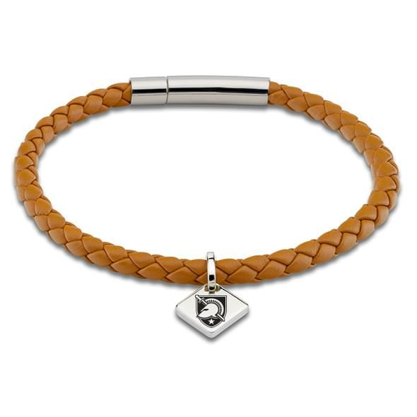 US Military Academy Leather Bracelet with Sterling Silver Tag - Saddle - Image 1