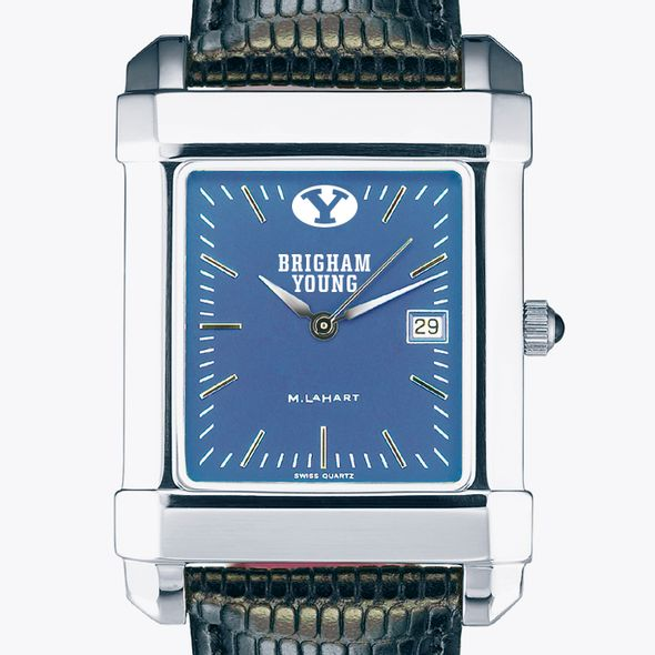 Brigham Young University Men's Steel Quad Blue Dial with Leather