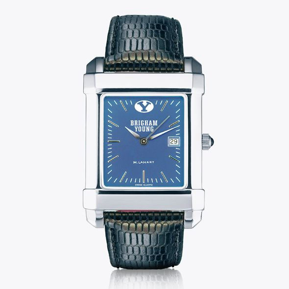 Brigham Young University Men's Steel Quad Blue Dial with Leather - Image 2