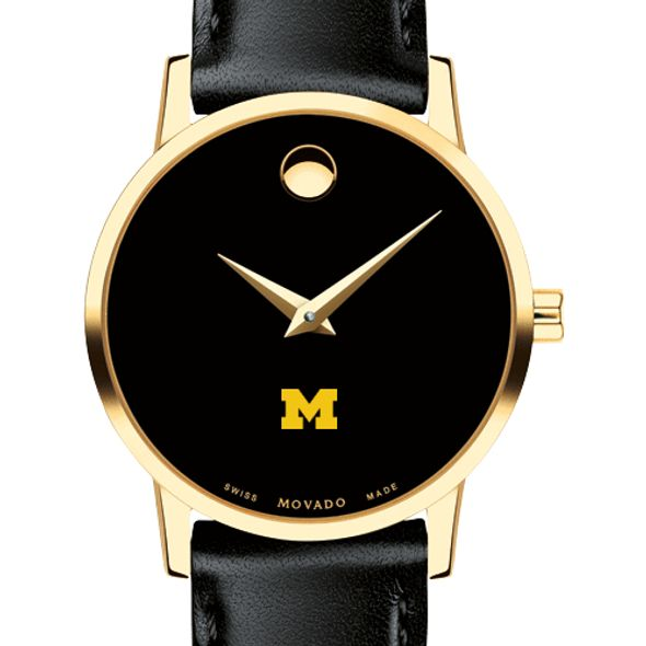 University of Michigan Women's Movado Gold Museum Classic Leather