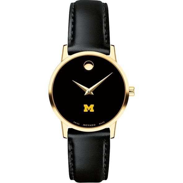 University of Michigan Women's Movado Gold Museum Classic Leather - Image 2