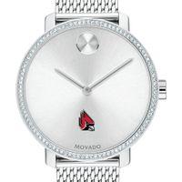 Ball State Women's Movado Bold with Crystal Bezel & Mesh Bracelet