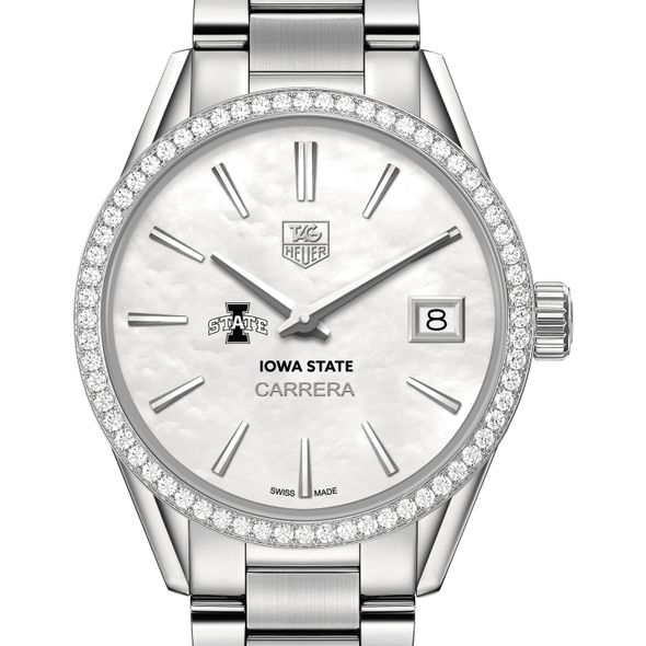 Iowa State University Women's TAG Heuer Steel Carrera with MOP Dial & Diamond Bezel