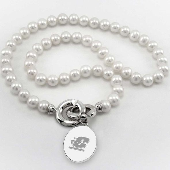 Central Michigan Pearl Necklace with Sterling Silver Charm