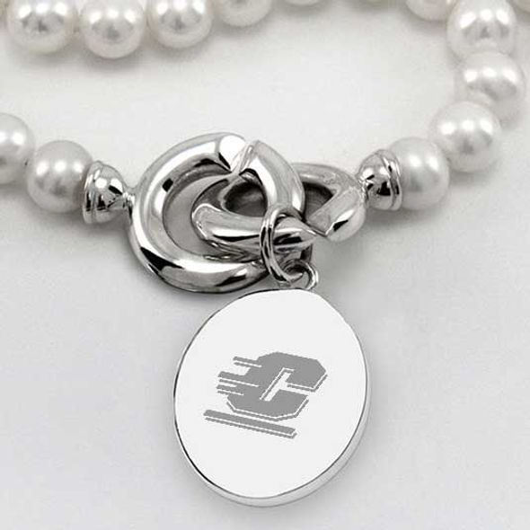 Central Michigan Pearl Necklace with Sterling Silver Charm - Image 2