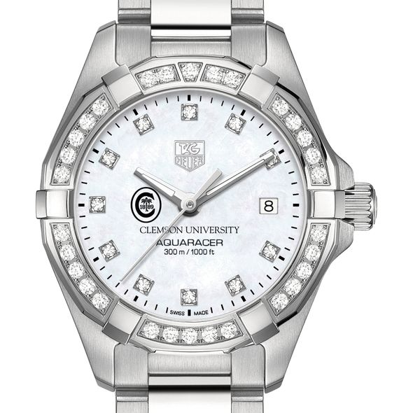 Clemson W's TAG Heuer Steel Aquaracer with MOP Dia Dial & Bezel