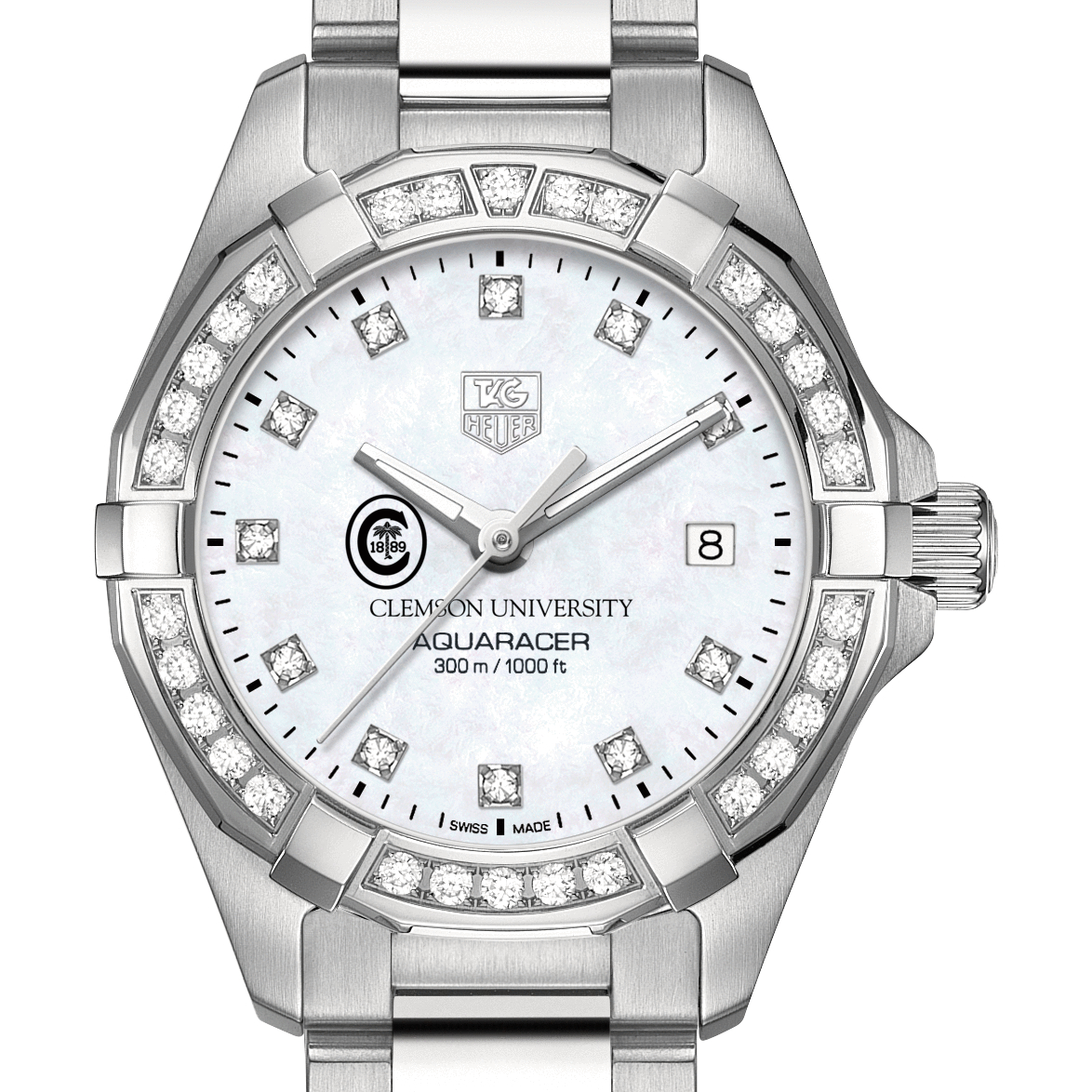 Clemson Women's TAG Heuer Steel Aquaracer with MOP Diamond Dial & Diamond Bezel