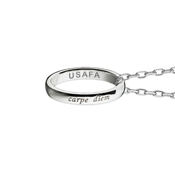 "US Air Force Academy Monica Rich Kosann ""Carpe Diem"" Poesy Ring Necklace in Silver - Image 3"