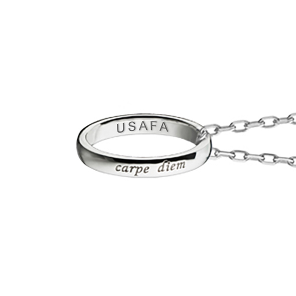 "US Air Force Academy Monica Rich Kosann ""Carpe Diem"" Poesy Ring Necklace in Silver - Image 3"