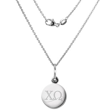 Chi Omega Sterling Silver Necklace with Silver Charm