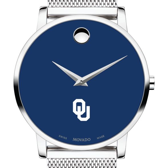 University of Oklahoma Men's Movado Museum with Blue Dial & Mesh Bracelet - Image 1