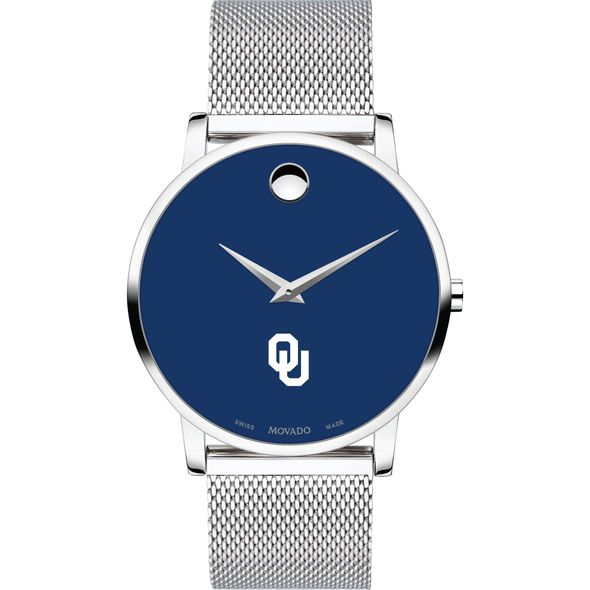 University of Oklahoma Men's Movado Museum with Blue Dial & Mesh Bracelet - Image 2