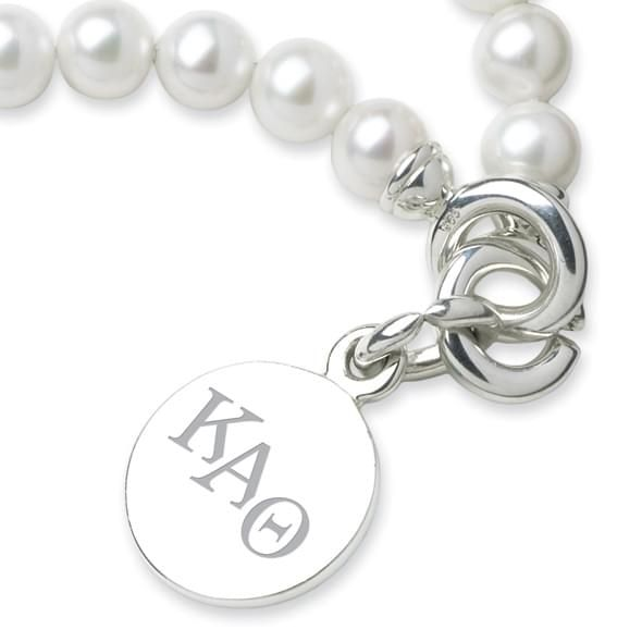 Kappa Alpha Theta Pearl Bracelet with Sterling Silver Charm - Image 2