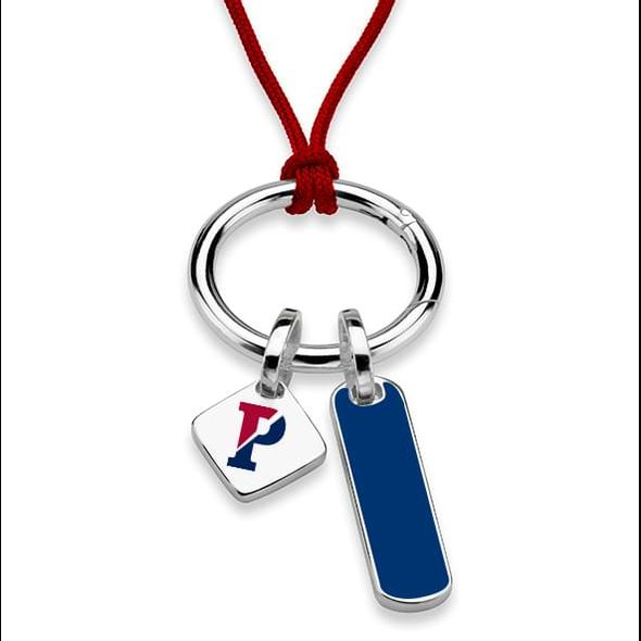 University of Pennsylvania Silk Necklace with Enamel Charm & Sterling Silver Tag