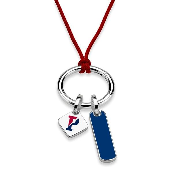 University of Pennsylvania Silk Necklace with Enamel Charm & Sterling Silver Tag - Image 2