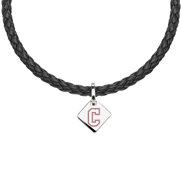 College of Charleston Leather Necklace with Sterling Silver Tag