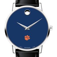 Clemson Men's Movado Museum with Blue Dial & Leather Strap