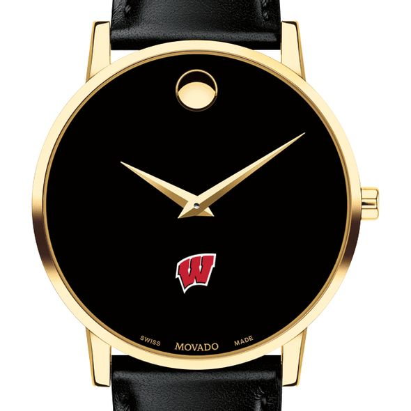 University of Wisconsin Men's Movado Gold Museum Classic Leather