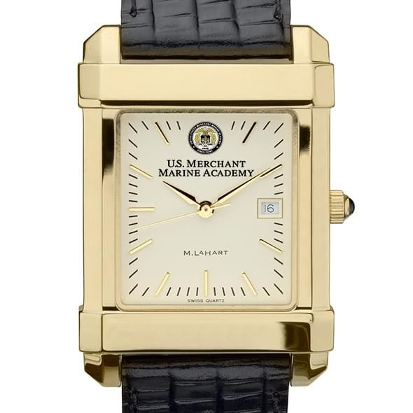 USMMA Men's Gold Quad Watch with Leather Strap