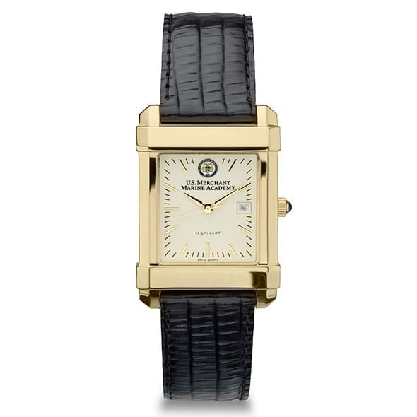 USMMA Men's Gold Quad Watch with Leather Strap - Image 2