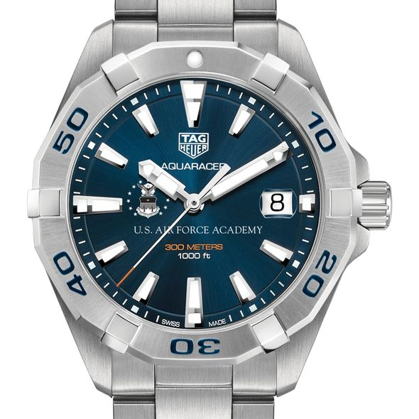 US Air Force Academy Men's TAG Heuer Steel Aquaracer with Blue Dial