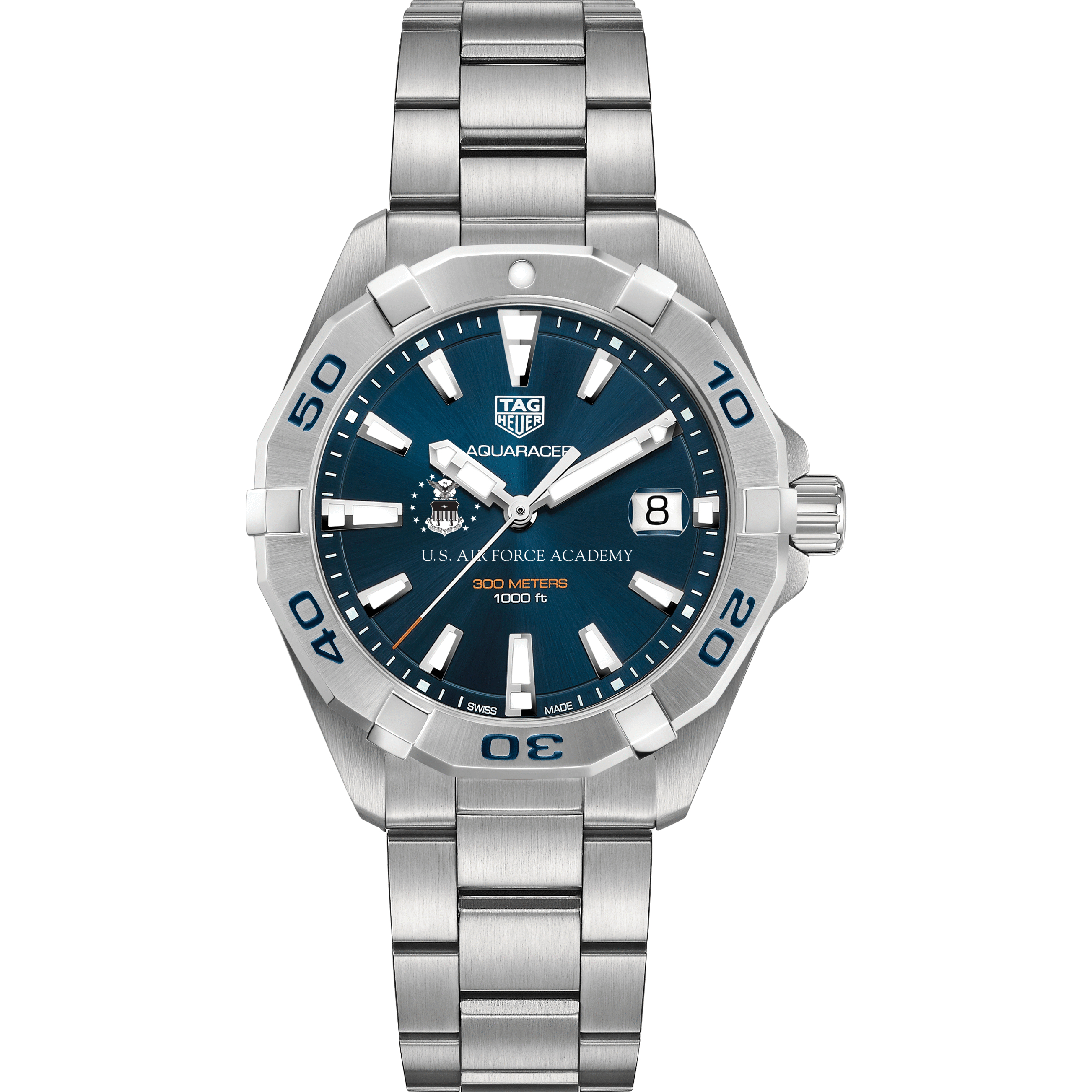 Air Force Academy Men's TAG Heuer Steel Aquaracer with Blue Dial - Image 2
