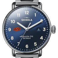 Oklahoma State Shinola Watch, The Canfield 43mm Blue Dial