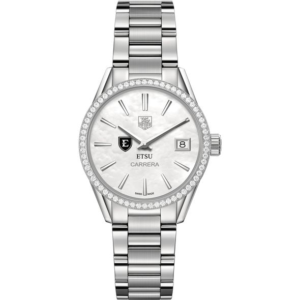 East Tennessee State University Women's TAG Heuer Steel Carrera with MOP Dial & Diamond Bezel - Image 2