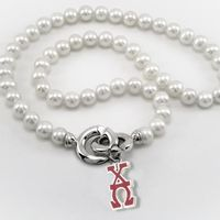 Chi Omega Pearl Necklace with Greek Letter Charm